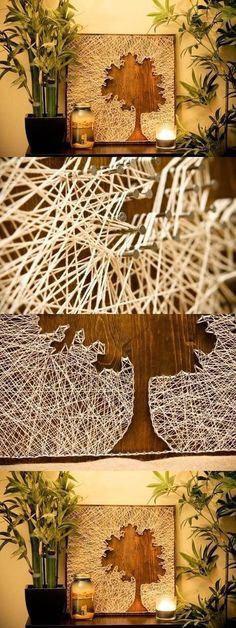 cuadro con hilos y clavos