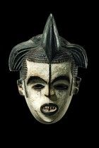 """Idoma - in former times the """"ikpobi"""" mask type was used on victory celebrations, at dances of the warriors who returned home and presented the heads of the killed enemies as trophies. Nowadays """"ikpobi"""" mask figures appear in pairs of male and female mainly at funeral ceremonies.  H: 31cm"""
