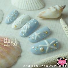 Starfish blue and white Nail designs