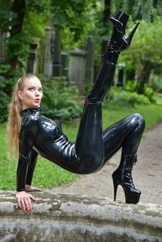 Latex catsuit, very sexy.