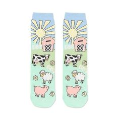 TopShop Farm Scene Ankle Socks ($5.13) ❤ liked on Polyvore featuring intimates, hosiery, socks, multi, animal socks, short socks, patterned socks, patterned ankle socks and cotton socks