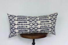12x24 Hmong Batik Indigo Pillow Cover Lumbar Pillow Vintage
