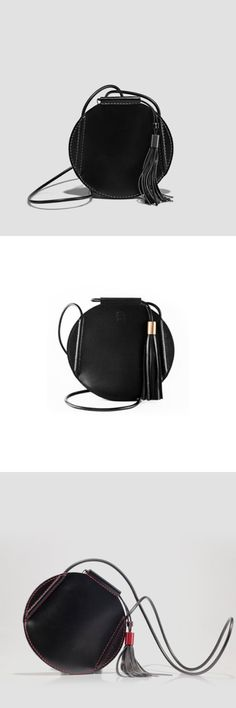 Round Leather Bag Small Leather Bag Cell Phone Crossbody