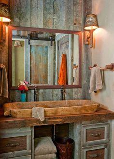 Stone Double Sink and Barn Wood Paneling
