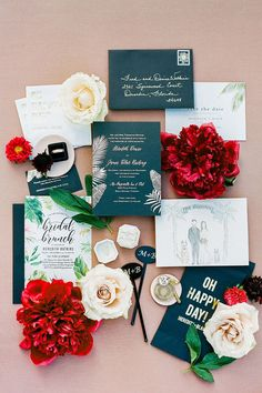 This tropical wedding stationery was featured in a real wedding album on The Knot. Crafted by Inky Fingers Stationery, this wedding paper fits perfectly with the red and white wedding decor. Personalize your wedding and put a spin on tradition with The Knot's customizable wedding websites, wedding invitations, registry (and more!). Not sure where to start? Get ideas and advice from our editors on everything from wedding colors and venue types to all things guest. Wedding Paper, Boho Wedding, Late Night Munchies, Wedding Stationery, Wedding Invitations, Just Married Sign, Red And White Weddings, The Perfect Getaway, Unique Settings