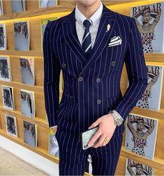 Double Breasted Pinstripe Suit, Mens Modern Clothing, Striped Wedding, Slim Suit, Tuxedo For Men, Stripes Fashion, Suit And Tie, Suit Fashion, Wedding Suits