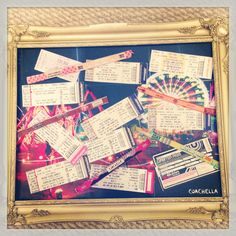 I made a magnet board with old concert ticket stubs and festival wristbands! To make it, I glued a Coachella poster to a piece of sheet metal. Then lay your favorite ticket stubs and wristbands over it and mod podge over them.   I'm going to hang it over my desk in medical school to remind me of how I used to have fun!