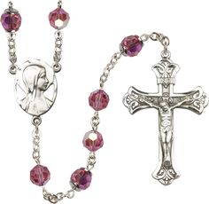 8mm Imitation Imitation Rose Swarovski, Capped Our Father Aurora Bore-Sterling Silver Rosary features 8mm Imitation Imitation Rose Swarovski, Capped Our Father Aurora Borealis beads. The Crucifix measures 1 7/8 x 1 1/8. The centerpiece features a Novena medal.-Each Rosary is presented in a deluxe velvet gift box. Hand-crafted in the USA by a group of talented artisans. -- Awesome products selected by Anna Churchill