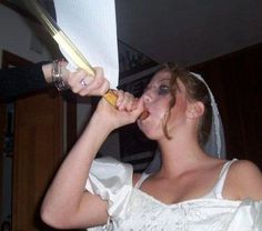 Funny Wedding Pictures: 13 More of the Bad & Strange FUNNIEST CRAZY BRIDES & GROOMS  Cue the processional music 'cuz here they come! More Funny Wedding Pictures. These bad big day photos are a hoot! From ugly wedding dresses to just plum stupid ideas, feast yer eyes on this crazy collection of nuptial madness. Weird that on such an important day that such knuckleheadom prevails. You may kiss the bride… or groom… or just laugh at them and be glad these are in your wedding album… Or are they?