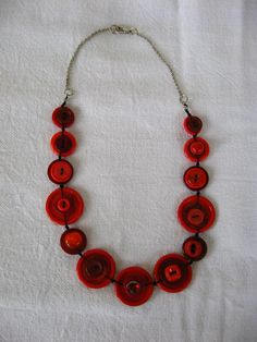 BUTTONS JEWELRY button nacklace  shade of red with silver chain.     buy  necklace and get earring in the same colours for FREE. $38.00, via Etsy.