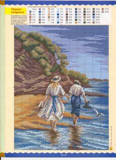 Romantic Walk by the Sea Cross Stitch Sea, Cross Stitch Charts, Cross Stitch Designs, Cross Stitch Patterns, Embroidery Art, Cross Stitch Embroidery, Embroidery Patterns, Cross Stitch Calculator, Cross Stitch Landscape