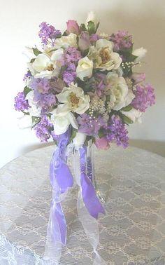 Magnolia Wedding Bouquets | magnolia lilac garden bouquet this silk bridal bouquet is so realistic ...