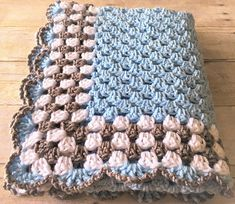 Blue Baby Blanket, Crochet Baby Blanket, Crochet Afghan, Blue Grey Blanket, Handmade Blanket, Crochet Blanket, Newborn Blanket, Crib Blanket, Baby Boy Blanket, Baby Shower Gift, Homecoming Gift, Made to Order NEW: Now also available in pink and yellow Custom orders are welcome!