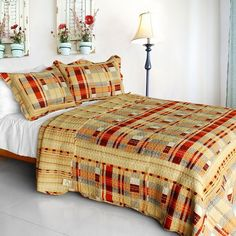 [Enthusiasm Waltz] Cotton 3PC Vermicelli-Quilted Plaid Patchwork Quilt Set (Full/Queen Size)