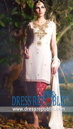 Off White Keisa, Product code: DR2476, by www.dressrepublic.com - Keywords: International Shalwar Kameez Designers Websites, International Salwar Kameez Designers Online
