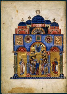 It is the Church of Holy Apostles in Constantinople, place of rest for the Emperors. The picture is from a century manuscript. Medieval Manuscript, Medieval Art, Illuminated Manuscript, Statues, Illumination Art, Byzantine Art, Z Arts, Historical Art, Bnf