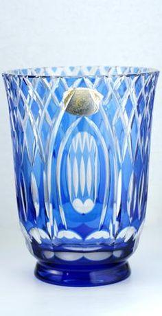 C.1930s - 40s Val St. Lambert Blue Overlay Cut Crystal Vase