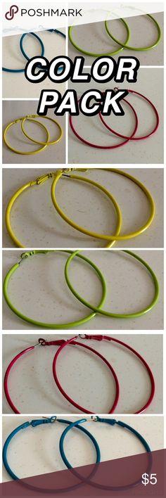 Colored Hoop Earrings Pack of 4 hoop earrings. Colors: blue, green, yellow, pink BOGO50 Jewelry Earrings