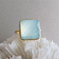 Gold vermeil & aqua chalcedony ring.