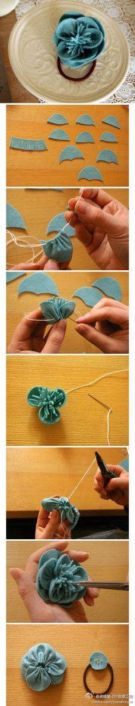 Pequeñas flores DIY, manera muy simple, oh . Diy Ribbon Flowers, Ribbon Work, Fabric Ribbon, Felt Fabric, Felt Flowers, Fabric Flowers, Felt Diy, Felt Crafts, Fabric Crafts