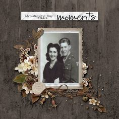 Moments...beautifully layered framing on a textured wood background.
