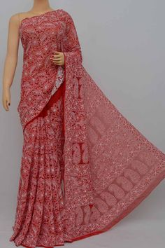 Red Color Allover Heavy Palla Hand Embroidered Lucknowi Chikankari Saree (With Blouse - Georgette) Tussar Silk Saree, Georgette Sarees, Cotton Saree, Lucknowi Suits, Jacket Style Kurti, Fancy Sarees, Fabric Bags, Half Saree, Woman Clothing