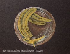 https://flic.kr/p/G64US4 | Banana! - wit op zwart/white on black | Gouache, watercolour and pencils on heavy 'all black' paper.  Reference taken from Plaisirs de Peindre.  Framed 40 x 50 cm; available.  M