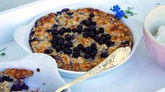 Ugnsbakad gröt med blåbär – recept från Karins kök Vegetable Pizza, Quiche, Brunch, Tasty, Vegetables, Desserts, Breakfast Ideas, Food, Meal