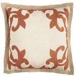 Embellished Jute Border Pillow - Rust