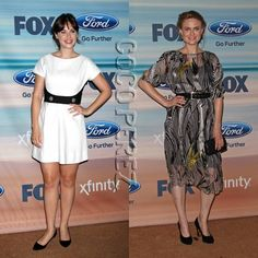Zooey and Emily Deschanel go minimal with their contrasting frocks at Fox's Fall Eco-Casino Party!