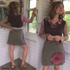 Eco Tunic Dress size S/M hippy tunic cowl neck tunicboho von zasra
