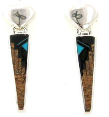 ER019-Native Earth Fancy Earrings. Designs using the Native Earth Fancy stone combination feature Sierra Nevada black jade, jasper and tiger eye with elaborate inlay work. It produces stunning, desert at night, earth tones.