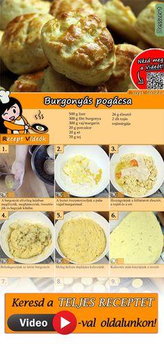 Pihe-puha, omlós burgonyás pogácsa bármikor és bármilyen mennyiségben! A Burgonyás pogácsa recept videóját a kártyán levő QR kód segítségével bármikor megtalálod! :) #BurgonyásPogácsa #Pogácsa #Burgonyás #ReceptVideók #Recept #KeltTészta #KeltTésztaRecept Good Food, Yummy Food, Hungarian Recipes, Savory Snacks, Homemade Cakes, Winter Food, No Cook Meals, Street Food, Cookie Recipes