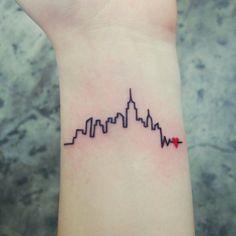 new york skyline foot tattoo - Google Search