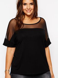 Plus Size Mesh Patchwork Tee