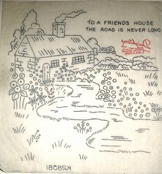 Vintage Deighton embroidery transfer - country cottage scene with Friends motto | eBay