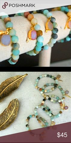 Function & Fringe- Amazonite & Druzy bracelets Druzy Charm Amazonite Bracelets. Each bracelet is made with matte Amazonite beads which make the sparkling Druzy pop even more! Finished with the signature Function & Fringe gold plated feather. Grab them while they are still here! Designed and made with love in California. Function & Fringe Jewelry Bracelets
