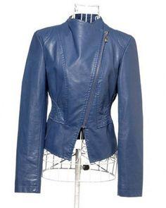 Blue Long Sleeve Big Lapel Slim Fit Short Leather Coat Indressme$36.90