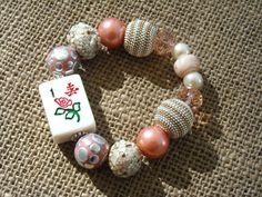 Peaches and Cream Mahjong Bracelet - Mah jong Jewelry - Mahjong Gift - Jesse James Beads by MahjongJewelry on Etsy