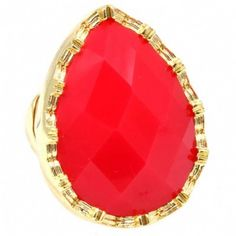 Caralynn's Glamorous Large Coral Red Pear Shape Cocktail Ring - Only $33.95 — Fantasy Jewelry Box