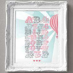 Vintage Hot Air Balloon Alphabet Print for a Baby Girls Nursery
