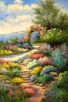 Beautiful Romantic And Magical Garden~ Oil Painting. Beautiful Paintings, Beautiful Landscapes, Beautiful Gardens, Garden Painting, Garden Art, Painting Inspiration, Art Pictures, Flower Art, Landscape Paintings