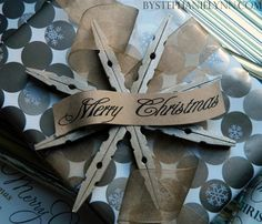wooden clothespins snowflake