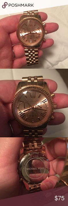 Michael Kors rose gold watch Michael Kors MK5560 rose gold watch. Gently used. Small scratch noted to glass cover around second hand. See last photo. Michael Kors Accessories Watches