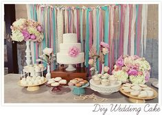 love the streamers hanging behind the table! AND the colors would be great for girls tea/fairy party