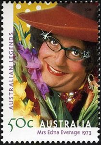 Mrs Edna Everage 1973 Barry Humphries, Dame Edna, Commemorative Stamps, Gladiolus, Cat Eye Glasses, Australia, Stamp Collecting, Postage Stamps, Comedians