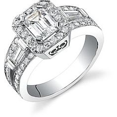 18k white Gold 2 1/8ct TDW EGL Diamond Engagement Ring (I, SI1) emerald cut with round and baguette shaped stones
