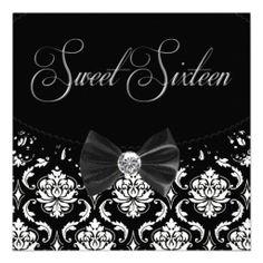 Black Damask Sweet Sixteen Birthday Party Invitati Announcements