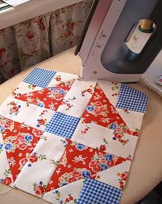 Red white and blue quilt square w/o being patriotic.