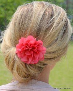 easy hair, easy undo, up-do, hairstyle, quick hair! Plus a pretty flower :)